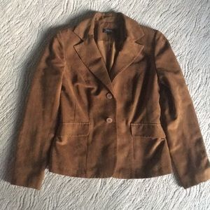 Suede Jacket (faux) with shoulder pads